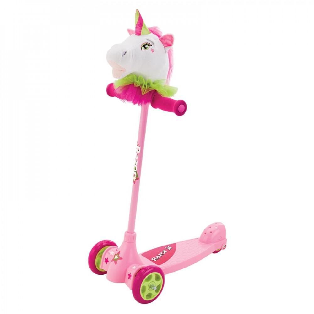 Детский Самокат с игрушкой 2 в 1 Razor Kuties Единорог Розовый